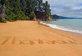 Thank you from new zealand card words on a beach in the abel tasman national park with lots of copy space Stock Photos