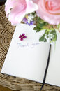 Thank you note with blossom on white page pink Stock Image