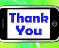 Thank you on phone shows gratitude texts and appreciation showing Royalty Free Stock Images