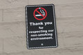 Thank you for respecting our non-smoking environment sign Royalty Free Stock Photo