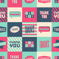 Thank you seamless pattern with colorful squares Royalty Free Stock Image