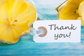 Thank you tag with on turquiose wood with yellow tulip Royalty Free Stock Images