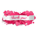 Thank you text on white paper banner and pink hearts Royalty Free Stock Photo