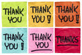 Thank you and thanks notes a set of isolated crumpled sticky in different colors Stock Photography