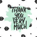Thank you very much - hand drawn lettering phrase  on the polka dot background. Fun brush ink inscription for Royalty Free Stock Photo