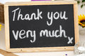 Thank you very much message written in chalk on a small blackboa w blackboard Stock Images