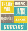 Thank you vintage poster style with the words in different languages Royalty Free Stock Images