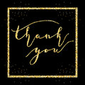 Thank you words in frame, type on Golden glitter sparkles