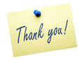Thank you yellow post it note on with blue push pin Royalty Free Stock Images