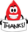 Thank you for your blood donation vector cartoon clip art of a drop thanking donating no gradients used isolated on white Stock Images