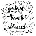 Thankful grateful blessed vector hand drawn card decorated floral ornament Royalty Free Stock Photo