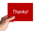 Thanks card in hand with lettering on white background Royalty Free Stock Images