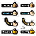 Thanks shake hand labels Royalty Free Stock Photo