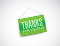 Thanks for visiting hanging sign illustration design over white Stock Photography