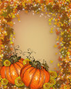 Thanksgiving autumn fall background image and illustration composition of large pumpkins with flowers for invitation border or Royalty Free Stock Images