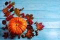 Thanksgiving background with ripe orange pumpkin on blue wooden