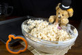 Thanksgiving bear making puffed rice cereal treats cute thnaksgiving pilgrim umpkin shaped cookie Stock Images