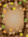Thanksgiving brown background frame leafs Stock Photo