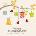 Thanksgiving card with box gift vector illustration Royalty Free Stock Photos