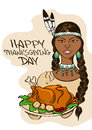 Thanksgiving card with native american indian girl holding dish turkey Stock Image