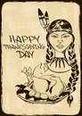 Thanksgiving card with native american indian girl vintage holding dish turkey Stock Image