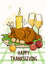 Thanksgiving card with roasted turkey bird vegetables wine and candle Stock Photo