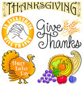 Thanksgiving Clip Art Set/eps Royalty Free Stock Photo