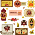 Thanksgiving clip art set tags labels badges with pilgrim and turkey Royalty Free Stock Image