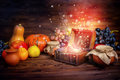 Thanksgiving concept of pumpkins, apple, garlic, straw and opene Royalty Free Stock Photo