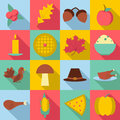 Thanksgiving Day Autumn icons set, flat style