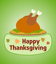 Thanksgiving day background with cooked turkey vector Royalty Free Stock Images