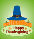 Thanksgiving day background with pumpkin vector Stock Photos