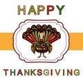 Thanksgiving day Beautiful colorful ethnic turkey bird label.