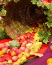 Thanksgiving day card stock photos fall decoration from harvesting festival basket with apples pears watermelon and autumn leaves Stock Image