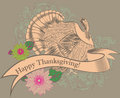 Thanksgiving day card with turkey and ribbon Royalty Free Stock Photography