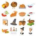 Thanksgiving day cartoon icons Royalty Free Stock Photo