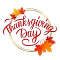 Thanksgiving Day celebrate card with bright autumn leaves, golden circles and hand lettering text design. Royalty Free Stock Photo