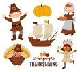 Thanksgiving Day characters set. Vector Autumn icons collection with pilgrims, native Indian, ship, turkey, pumpkin. Cute fall Royalty Free Stock Photo