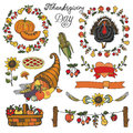 Thanksgiving day decor.Colorful Doodle set