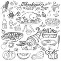 Thanksgiving day.Doodle food icons.Linearset Royalty Free Stock Photo