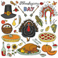 Thanksgiving day.Doodle icons colorful set Royalty Free Stock Photo