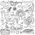 Thanksgiving day doodle icons.Linear set