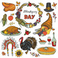 Thanksgiving day doodle icons,wreath.Colorful set