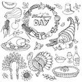 Thanksgiving day doodle icons,wreath.Linear set Royalty Free Stock Photo