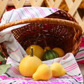 Thanksgiving day fall decoration stock photos from harvesting festival basket with pear pumpkins Royalty Free Stock Photo
