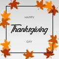 Thanksgiving Day greeting card with autumn maple leaf and frame. Vector.