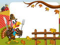 Thanksgiving day horizontal frame pilgrim turkey eating fork knife