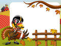 Thanksgiving day horizontal frame turkey playing american football