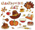 Thanksgiving day icon set Royalty Free Stock Photos