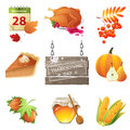 Thanksgiving day icons highly detailed Royalty Free Stock Images